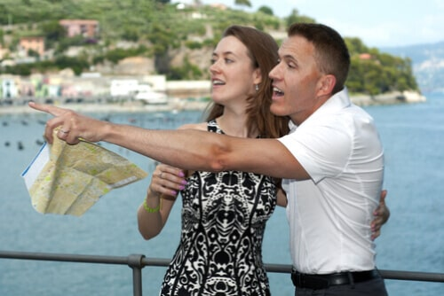 A couple on vacation in Italy, after successfully passed our Italian course